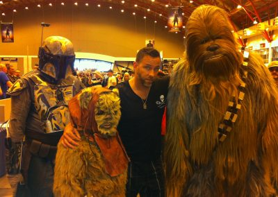 James Bamford with Chewbacca, Ewok and Boba Fett